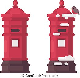 Two red vintage mailboxes with snow. Old postboxes waiting for letters to Santa