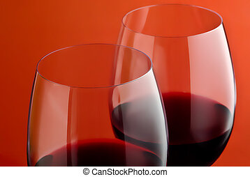 Two red wineglass