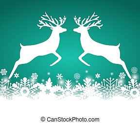 Two reindeer jump to each other on a background with...