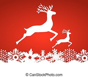 Two reindeer jump to each other on a red background with snowfla