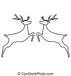 Two reindeer jumping together on a white background, vector...