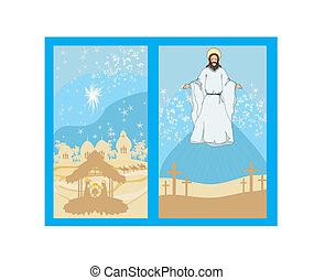 two religious images - Jesus Christ bless and birth of Jesus