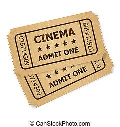Two retro cinema tickets