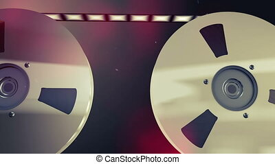 """Two retro reels with moving tape"""