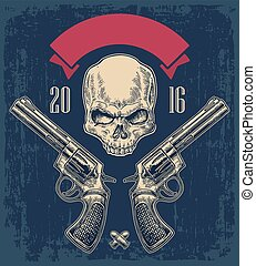 Two revolver with bullets, skull and ribbon. Vector...