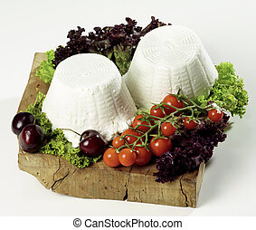 """Two ricotta cheeses - isolated \""""ricotta\"""" cheese on cutting..."""