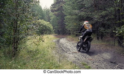 two riders on motorcycles driving on a dirt road in woods...