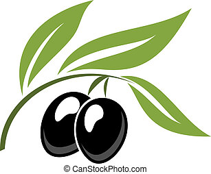 Two ripe black cartoon olives on a leafy green twig for...