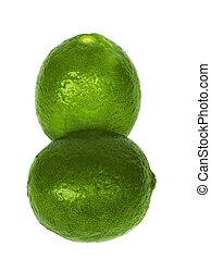 Two ripe lime on a white background