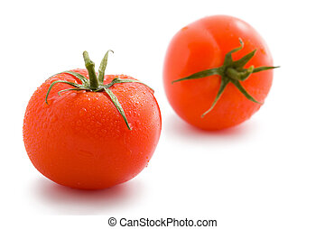 two ripe tomatoes isolated