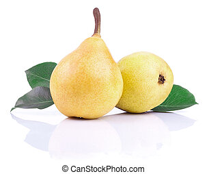 Two ripe yellow pears with leaves isolated on White background