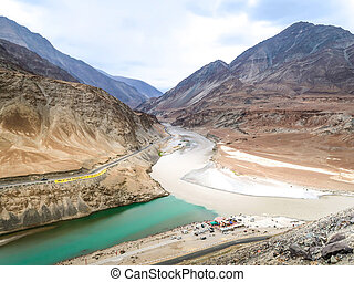 Two rivers are confluence at Zanskar Rivers, Leh, India -...