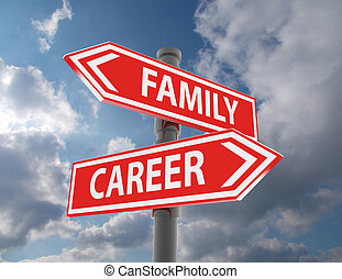 two road signs - family or career choice