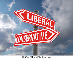 two road signs - liberal conservative choice