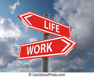 two road signs - life or work choice