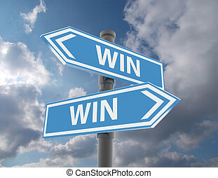two road signs - win win situation