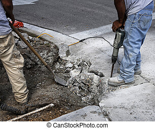 Two road workers