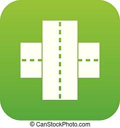 Two roads icon digital green