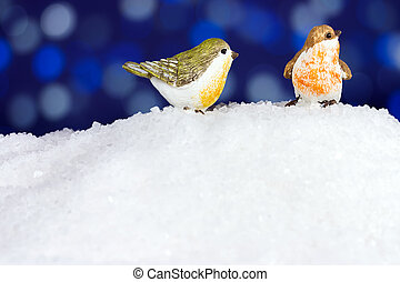 Two robin in the snow