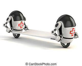 two robot medic with the stretcher - 3d rendering of the ...