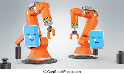 Two robotic arms say hello - Two robotic arms communication...