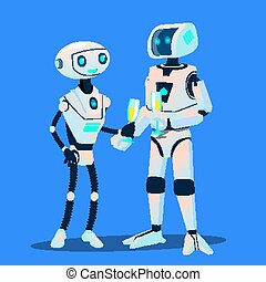 Two Robots In Love Are On Date With Glasses Of Champagne Vector. Isolated Illustration