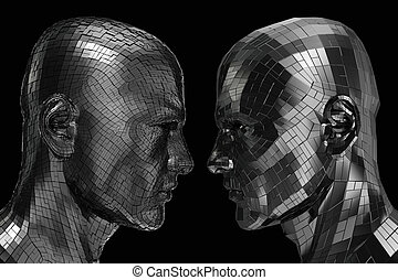 Two Robots in profile