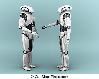 Two robots interacting. - Two robots interacting with...