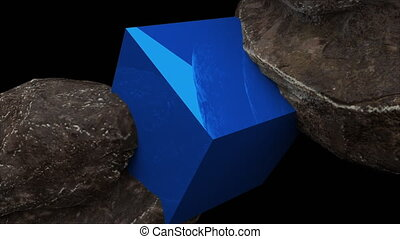 Two rocks and cube with reflection, abstraction, 3d...
