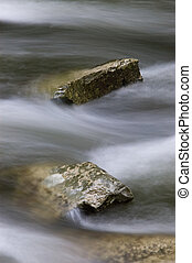 Two rocks in a river with blurred water rushing by