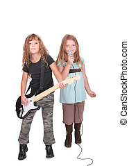 two rockstar children - two young female childred playing...