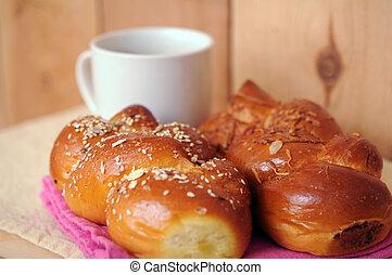 two roll of sweet bread