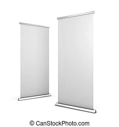 Two roll up banners. 3d illustration isolated on white...