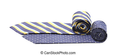 Two rolled ties isolated on white