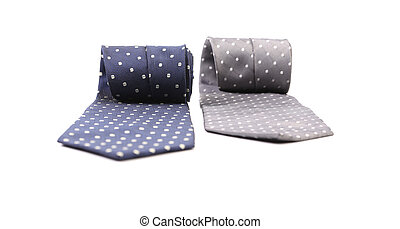 Two rolled up ties. Isolated on a white background.