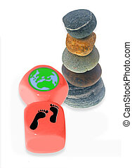 Two rolling dice patterned with the Earth & Feet