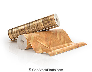 Two rolls of linoleum with wood texture. 3d illustration
