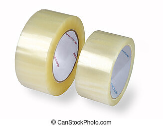 Two rolls of transparent packaging, adhesive tape, various ...