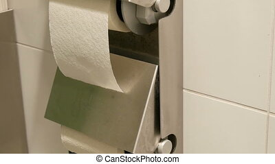 Two rolls of white toilet paper in the cubicle of a public...