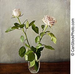 two romantic pink roses on grunge texture