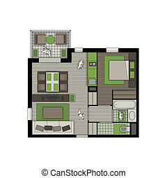 two rooms apartment with balcony nature interior - top view...
