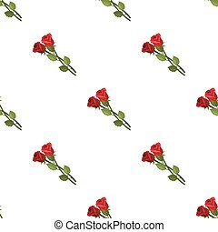 Two roses icon in cartoon style isolated on white...