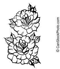 Two roses - sketch of a tattoo