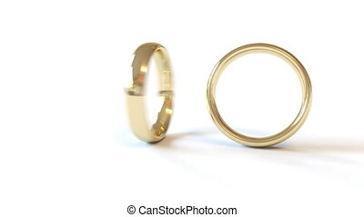 Two rotating wedding rings are combined into one, FullHD,...