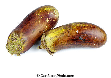 Two rotten eggplants isolated on white background