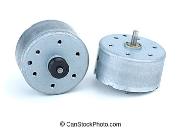 Two round DC electric motors isolated on the white...