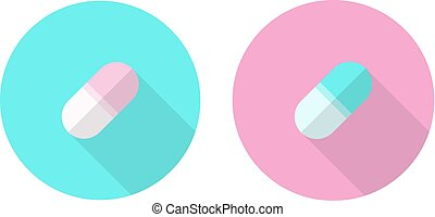 Two Round Icons with Pills. Flat Design.