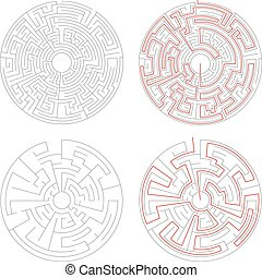 Two round mazes of medium complexity on white with solution