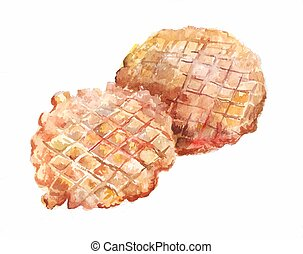 Two round wafers baked in a waffle iron