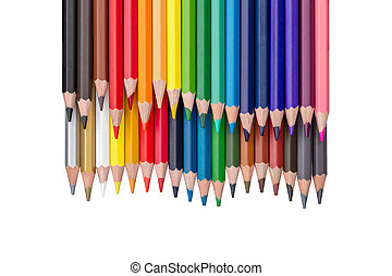 rows of colored pencils isolated on white